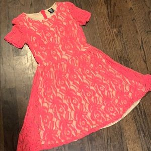 Fit and flare embroidered dress hot pink size 8